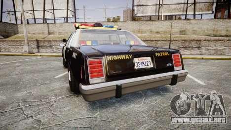Ford LTD Crown Victoria 1987 Police CHP1 [ELS] para GTA 4 Vista posterior izquierda