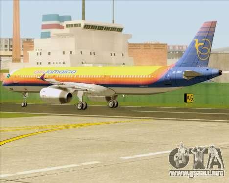 Airbus A321-200 Air Jamaica para GTA San Andreas vista hacia atrás