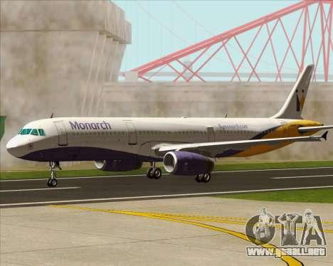 Airbus A321-200 Monarch Airlines para la vista superior GTA San Andreas