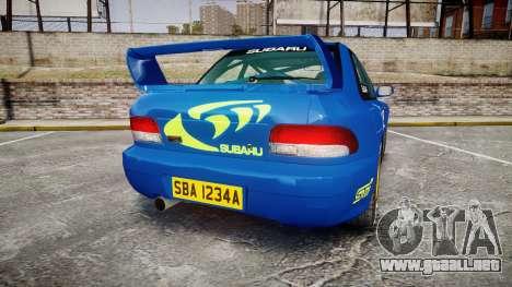 Subaru Impreza WRC 1998 World Rally v3.0 Green para GTA 4 Vista posterior izquierda