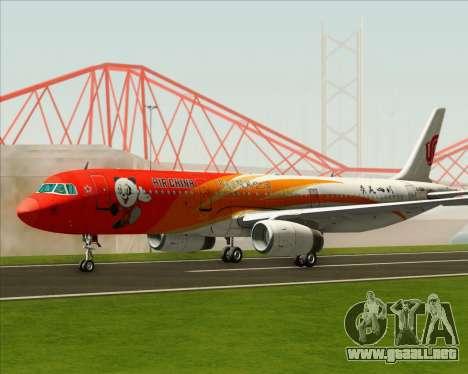 Airbus A321-200 Air China (Beautiful Sichuan) para GTA San Andreas vista posterior izquierda