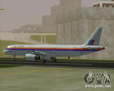 Airbus A321-200 United Airlines para GTA San Andreas vista hacia atrás