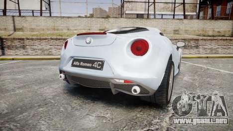 Alfa Romeo 4C para GTA 4 Vista posterior izquierda