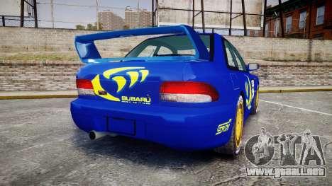 Subaru Impreza WRC 1998 Rally v2.0 Yellow para GTA 4 Vista posterior izquierda