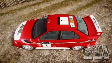 Mitsubishi Lancer Evolution VI Rally Marlboro para GTA 4 visión correcta
