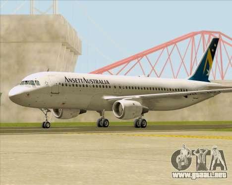 Airbus A320-200 Ansett Australia para la visión correcta GTA San Andreas
