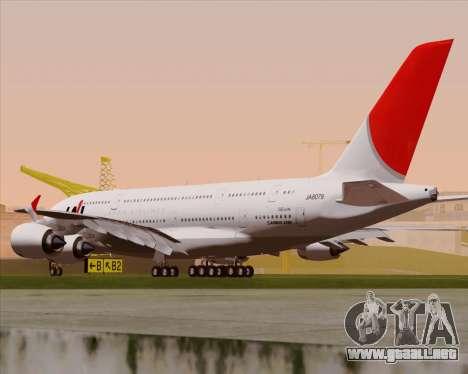 Airbus A380-800 Japan Airlines (JAL) para la visión correcta GTA San Andreas