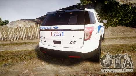 Ford Explorer 2013 PS Police [ELS] para GTA 4 Vista posterior izquierda