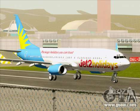 Boeing 737-800 Jet2Holidays para GTA San Andreas vista posterior izquierda