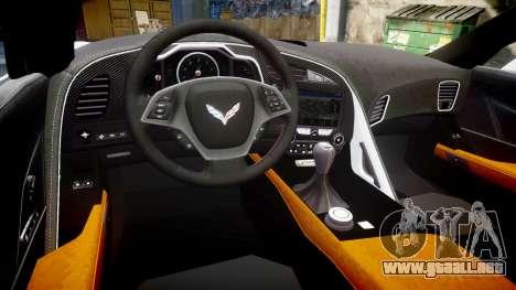 Chevrolet Corvette Z06 2015 TirePi2 para GTA 4 vista interior