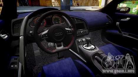 Audi R8 V10 Plus 2013 Vossen VVS CV3 para GTA 4 vista interior