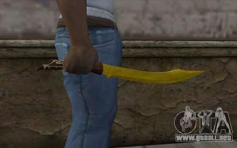 Cuchillo de oro para GTA San Andreas tercera pantalla