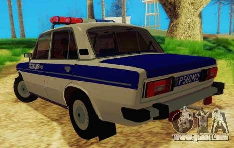 VAZ-2106 de la Policía para GTA San Andreas vista posterior izquierda