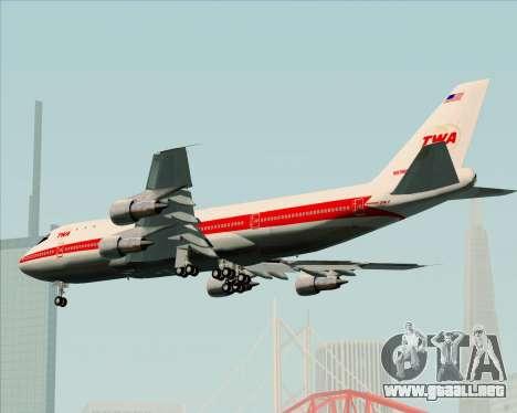 Boeing 747-100 Trans World Airlines (TWA) para vista lateral GTA San Andreas