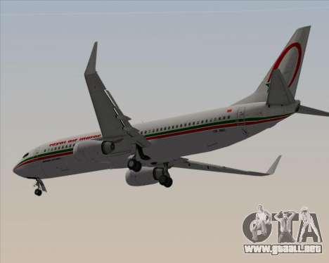 Boeing 737-8B6 Royal Air Maroc (RAM) para GTA San Andreas vista hacia atrás