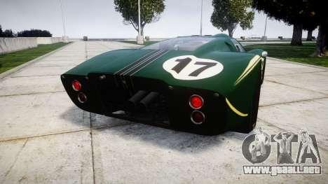 Ford GT40 Mark IV 1967 PJ 17 para GTA 4 Vista posterior izquierda