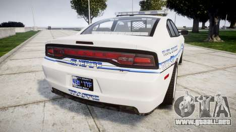 Dodge Charger RT [ELS] Liberty County Sheriff para GTA 4 Vista posterior izquierda