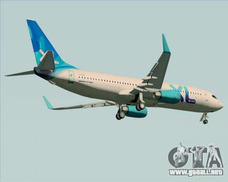 Boeing 737-800 XL Airways para GTA San Andreas vista hacia atrás