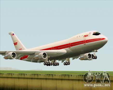 Boeing 747-100 Trans World Airlines (TWA) para GTA San Andreas vista posterior izquierda