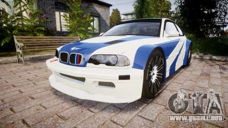 BMW M3 E46 GTR Most Wanted plate NFS Carbon para GTA 4