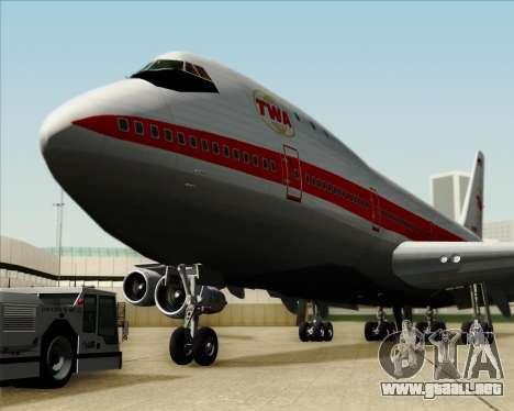 Boeing 747-100 Trans World Airlines (TWA) para vista inferior GTA San Andreas