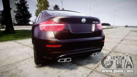 BMW X6M rims2 para GTA 4 Vista posterior izquierda
