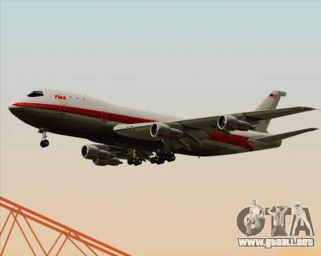 Boeing 747-100 Trans World Airlines (TWA) para visión interna GTA San Andreas