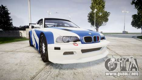 BMW M3 E46 GTR Most Wanted plate NFS-Hero para GTA 4