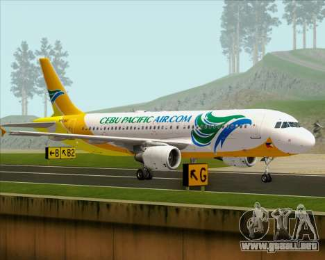 Airbus A320-200 Cebu Pacific Air para GTA San Andreas vista posterior izquierda