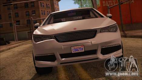 GTA 5 Ubermacht Sport para GTA San Andreas vista posterior izquierda