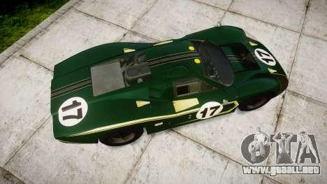 Ford GT40 Mark IV 1967 PJ 17 para GTA 4 visión correcta