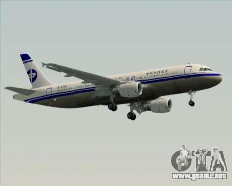 Airbus A320-200 CNAC-Zhejiang Airlines para visión interna GTA San Andreas