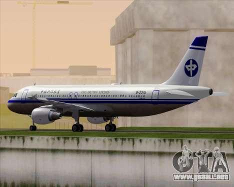 Airbus A320-200 CNAC-Zhejiang Airlines para GTA San Andreas vista posterior izquierda