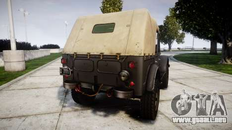 GAZ-69 para GTA 4 Vista posterior izquierda