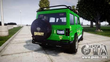 GTA V Benefactor Dubsta [ELS] Sheriff para GTA 4 Vista posterior izquierda