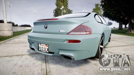 BMW M6 Vossen VVS CV3 para GTA 4 Vista posterior izquierda