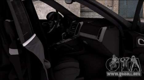 Porsche Cayenne Turbo 2015 para GTA San Andreas vista hacia atrás