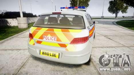 Vauxhall Astra 2010 Metropolitan Police [ELS] para GTA 4 Vista posterior izquierda