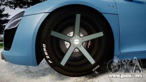 Audi R8 V10 Plus 2013 Vossen VVS CV3 para GTA 4 vista hacia atrás