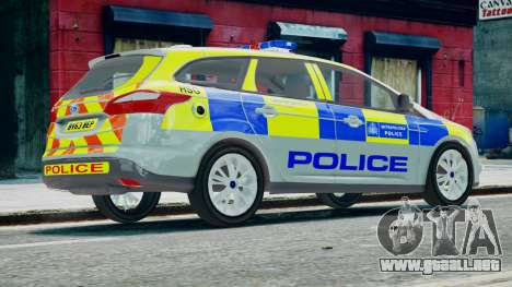 Met Police Ford Focus Estate IRV ELS 8 2013 para GTA 4 left
