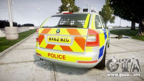 Skoda Octavia vRS Comb Metropolitan Police [ELS] para GTA 4 Vista posterior izquierda