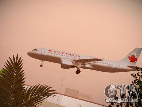 Airbus A320-214 Air Canada para vista lateral GTA San Andreas