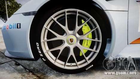 Porsche 918 Spyder 2014 Weissach para GTA 4 vista hacia atrás