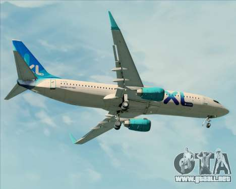 Boeing 737-800 XL Airways para vista inferior GTA San Andreas