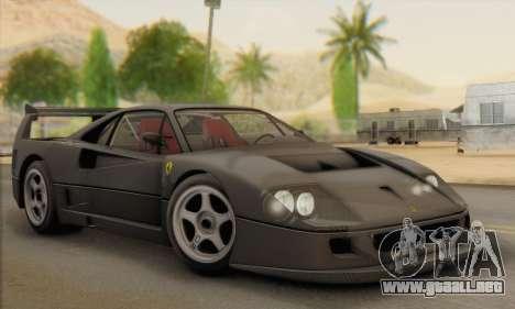 Ferrari F40 Competizione Black Revel para visión interna GTA San Andreas