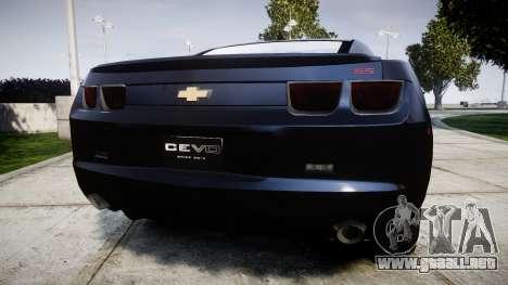 Chevrolet Camaro SS [ELS] Unmarked interceptors para GTA 4 Vista posterior izquierda