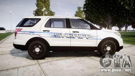 Ford Explorer 2013 [ELS] Liberty County Sheriff para GTA 4 left
