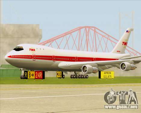 Boeing 747-100 Trans World Airlines (TWA) para GTA San Andreas left