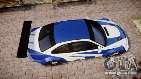 BMW M3 E46 GTR Most Wanted plate NFS Carbon para GTA 4 visión correcta