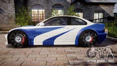 BMW M3 E46 GTR Most Wanted plate NFS Carbon para GTA 4 left